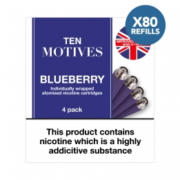 80 x Refill Cartridges - Ten Motives - Blueberry Flavour 16mg Refills