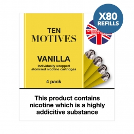 80 x Refill Cartridges - Ten Motives - Vanilla Flavour 16mg Refills